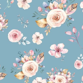 Blue Spring Floral in Gold and Pink