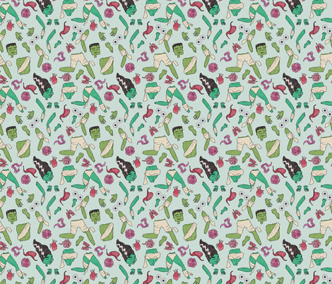 Dr. Frankenstein's Body Parts fabric by inkysunshine on Spoonflower - custom fabric