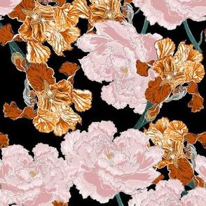 Irises and Peonies on Black
