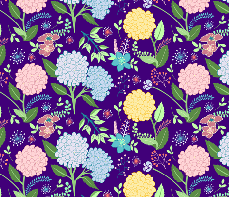 Hydrangeas Pattern fabric by astrid_natalia on Spoonflower - custom fabric