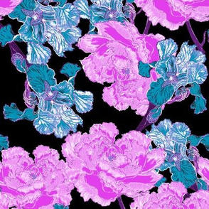 Irises and Peonies Bright Re-colorized