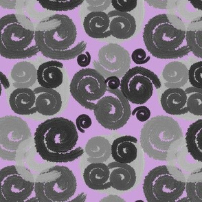 Gray and Black Spirals on Lilac