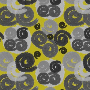 Gray and Black Spirals on Olive