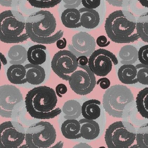 Gray and Black Spirals on Rose