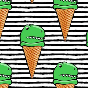 "(5"" scale) trex icecream cones - dinosaur icecream - black stripes C18BS"