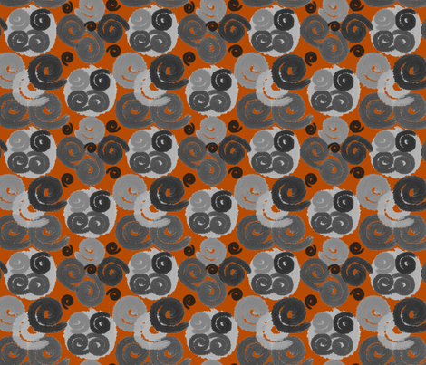 Gray and Black Spirals on Terracotta fabric by barbaramarrs on Spoonflower - custom fabric