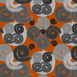 Gray and Black Spirals on Terracotta