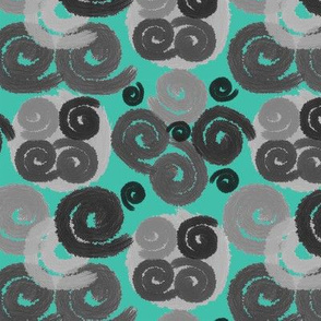 Gray and Black Spirals on Turquoise