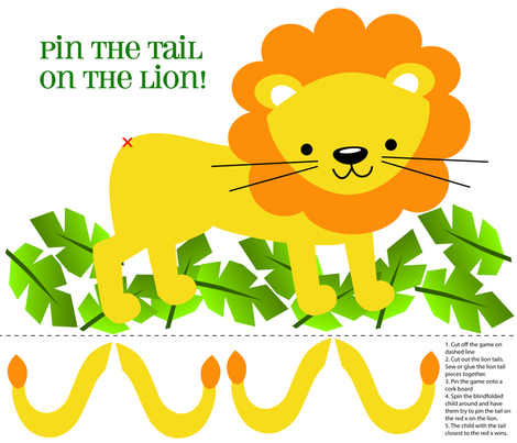 Pin Tail on the Lion Game  fabric by myartbylynnette on Spoonflower - custom fabric