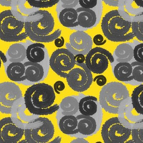 Gray and Black Spirals on Yellow