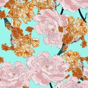 Irises and Peonies Teal Background