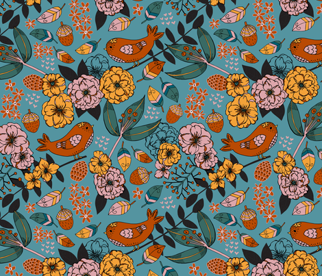 Autumn sketchbook, Teal fabric by palifino on Spoonflower - custom fabric