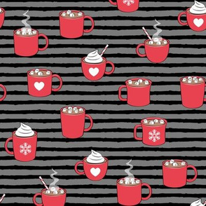 hot cocoa - hot chocolate - red on black on grey stripes C18BS