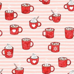 hot cocoa - hot chocolate coffee - red on pink stripes