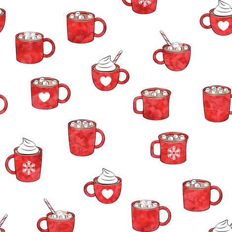 hot cocoa - hot chocolate - red fabric by littlearrowdesign on Spoonflower - custom fabric