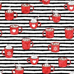 hot cocoa - hot chocolate - red on black stripes