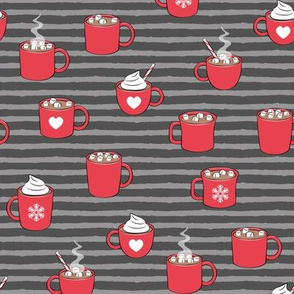 hot cocoa - hot chocolate - red on grey on grey stripes C18BS