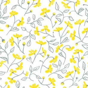 wild flowers in grey and yellow