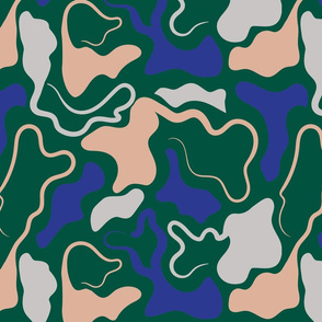 WIGGLE ABSTRACT CAMO MODERN CAMOUFLAGE BLUE PINK GREEN