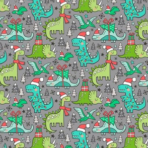 Christmas Holidays Dinosaurs & Trees on Grey Smaller