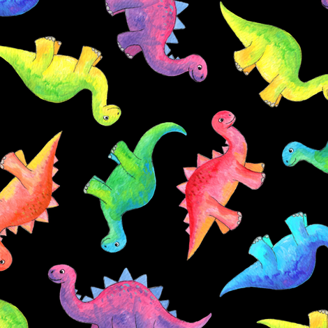 Bright Colorful Hand Painted Gouache Dinos on Black - medium fabric by micklyn on Spoonflower - custom fabric