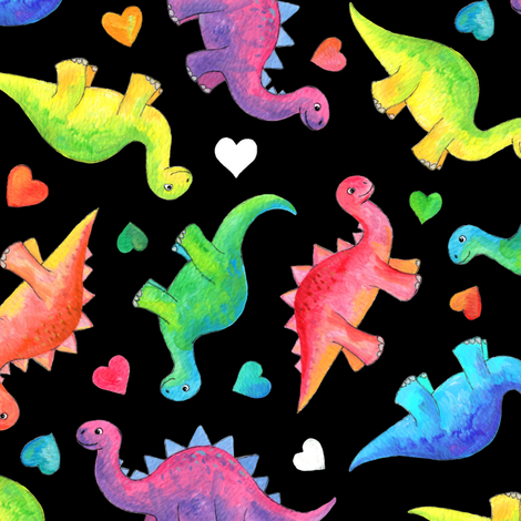 Bright Colorful Hand Painted Gouache Dinos and Hearts on Black - medium fabric by micklyn on Spoonflower - custom fabric