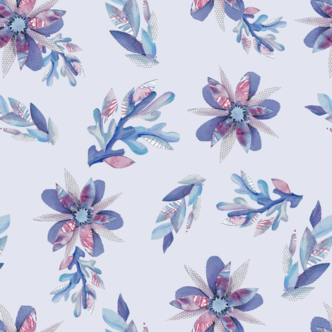 sea_flowers_blue fabric by white_bryony_designs on Spoonflower - custom fabric