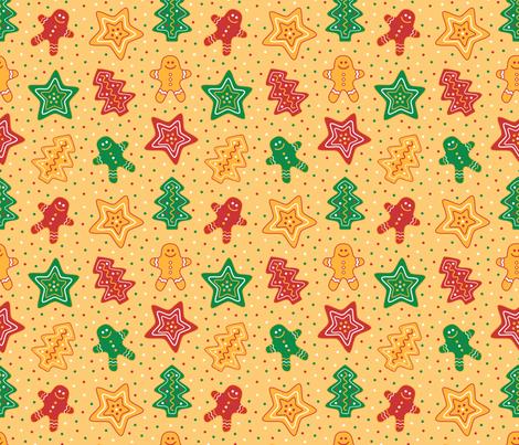 Gingerbread Cookies Yellow fabric by pinkdeer on Spoonflower - custom fabric