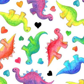 Bright Colorful Hand Painted Gouache Dinos and Hearts on White - medium
