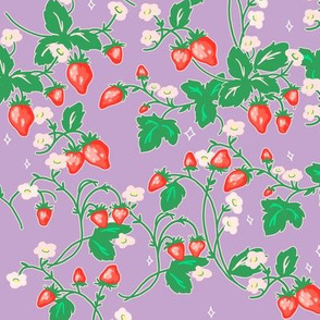 Strawberry Patch on pastel purple