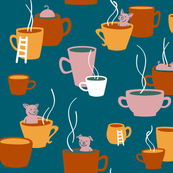 Retro Cups n' Pigs - Teacup Pigs bathing in cups