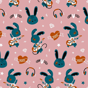 Bunny Rockstar - pink red