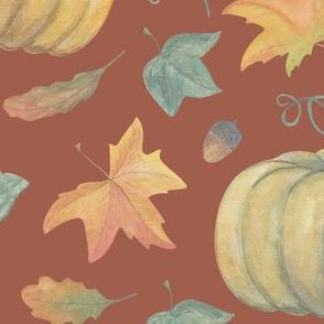 scattered autumn pumpkin on brick red