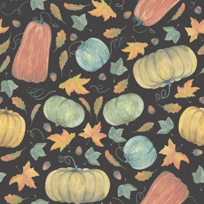 scattered autumn pumpkins  on charcoal