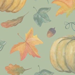 scattered autumn pumpkins  on Sprout Green