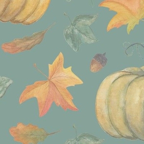 scattered autumn pumpkins  on Winter Sky Blue