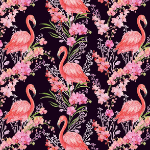 flamingos and orchid