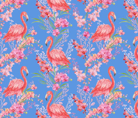 flamingos and orchids fabric by mitrushovaart on Spoonflower - custom fabric