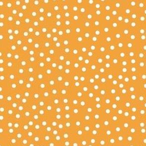 Twinkling White Dots on Saffron - Medium Scale