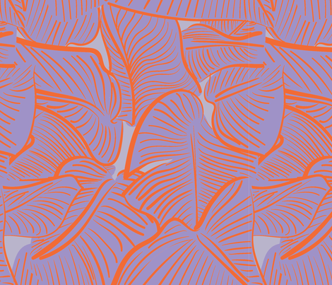 TROPICAL LEAVES ORANGE AND PURPLE fabric by studio_lcy on Spoonflower - custom fabric