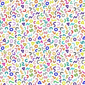 80's Squiggles on White