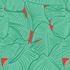 TROPICAL LEAVES GREEN AND RED