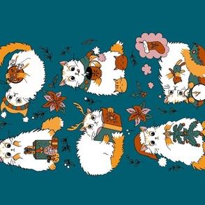 Christmas cats - Spoonflower Tea Towel
