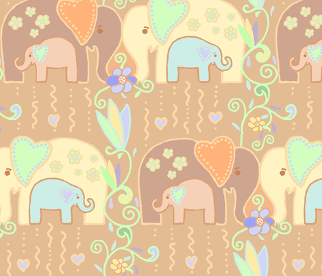 The Love Expressed by an Elephant fabric by adrianne_vanalstine on Spoonflower - custom fabric