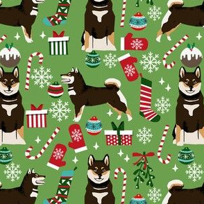 shiba xmas bt shiba inu christmas fabric, shiba inu holiday, shiba inu fabric, dog fabric, shiba inu fabric by the yard, dog fabric by the yard, cute dog fabric - green