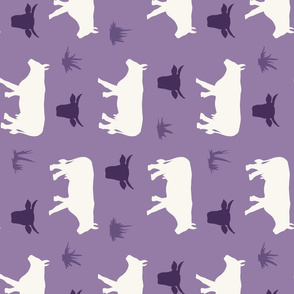 Cow Heads & Sides - H White, Med Purple - Rotated- Tea Towel