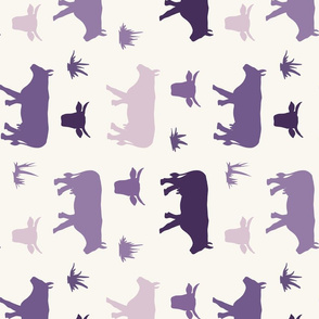 Cow Heads & Sides - Purples, H White - Rotated - Tea towel