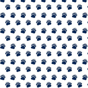Bear Paw Navy on White