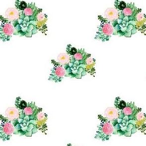 """4"""" Cactus Florals - White"""