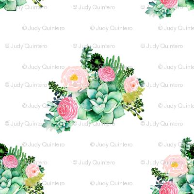 """8"""" Cactus Florals - White"""